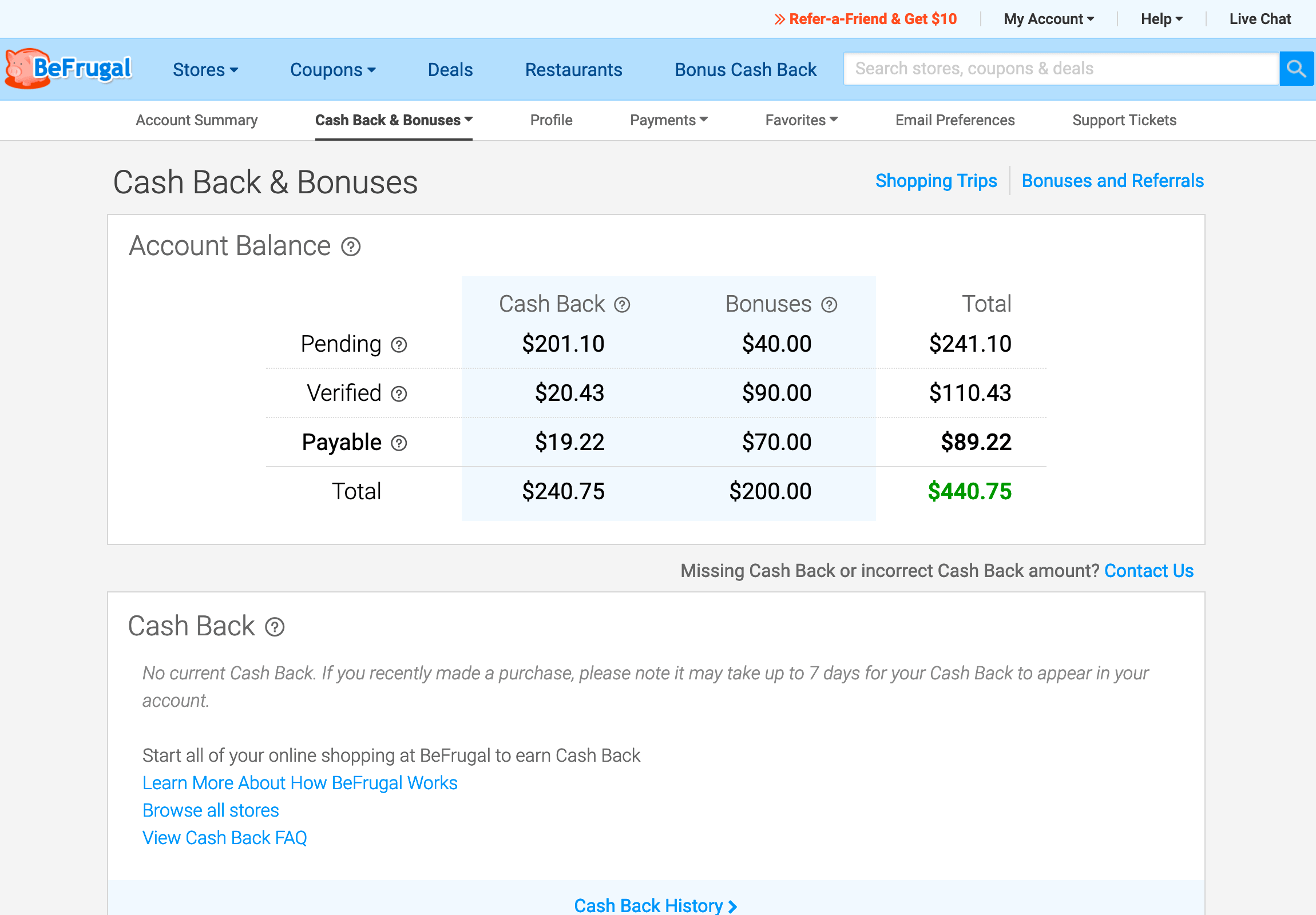 My balance on BeFrugal.com